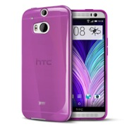 Purple Crystal Silicone TPU Flexible Skin Case for HTC One 2