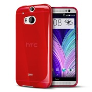 Red/ Frosted Crystal Silicone TPU Flexible Skin Case for HTC One (M8)