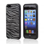 Apple iPhone 5/5S Crystal Silicone Case - Black/ White Zebra