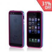 Premium Apple iPhone 5/5S Crystal Silicone Bumper Case w/ Metal Buttons - Hot Pink/ Turquoise
