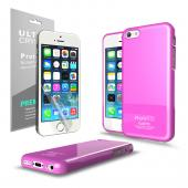 Hot Pink Anti-Slip TPU Crystal Silicone Skin Case & Free Screen Protector for Apple iPhone 5C