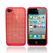 Apple iPhone 4 Crystal Silicone Case, Rubber Skin - Argyle Print Transparent Red