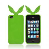 AT&T/ Verizon Apple iPhone 4, iPhone 4S Polka Dot Ribbon Crystal Silicone Case w/ Pink Heart Stand - Green