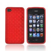 AT&T/ Verizon Apple iPhone 4, iPhone 4S Crystal Silicone Case - Red 3D Cubes