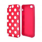 Apple iPhone SE / 5 / 5S  Case,  [White Polka Dots on Red]  Slim & Flexible Anti-shock Crystal Silicone Protective TPU Gel Skin Case Cover