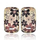Motorola Clutch+ i475 Crystal Silicone Case - Brown & Black Daisy Flowers on Frost White