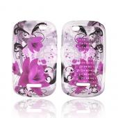 Motorola Clutch+ i475 Crystal Silicone Case - Pink Flowers on Frost White