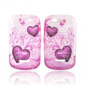Motorola Clutch+ i475 Crystal Silicone Case - Pink Hearts & Butterflies on Frost White