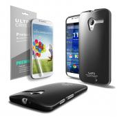 Black CellLine Anti-Slip TPU Crystal Silicone Skin Case & Free Screen Protector for Motorola Moto X
