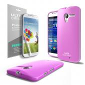 Baby Pink CellLine Anti-Slip TPU Crystal Silicone Skin Case & Free Screen Protector for Motorola Moto X