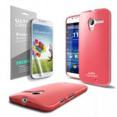 Hot Pink CellLine Anti-Slip TPU Crystal Silicone Skin Case & Free Screen Protector for Motorola Moto X