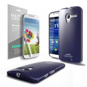 Navy CellLine Anti-Slip TPU Crystal Silicone Skin Case & Free Screen Protector for Motorola Moto X