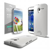 Solid White CellLine Anti-Slip TPU Crystal Silicone Skin Case & Free Screen Protector for Motorola Moto X