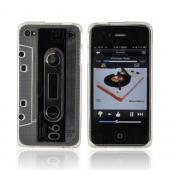 AT&T/ Verizon Apple iPhone 4, iPhone 4S Crystal Silicone Cassette Tape Design - Transparent Clear