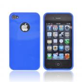AT&T/ Verizon Apple iPhone 4, iPhone 4S Crystal Silicone Case - Blue w/ Metal Flake