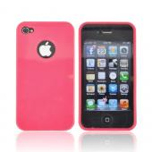 AT&T/ Verizon Apple iPhone 4, iPhone 4S Crystal Silicone Case - Hot Pink w/ Metal Flake
