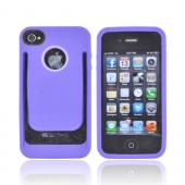 AT&T/ Verizon Apple iPhone 4, iPhone 4S Crystal Silicone Case w/ Money Clip/ ID Holder - Purple/ Lavender