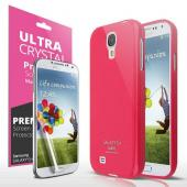 Hot Pink Exclusive CellLine Anti-Slip TPU Crystal Silicone Case + Free Screen Protector for Samsung Galaxy S4