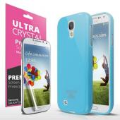 Sky Blue w/ Glitter Shimmer Anti-Slip TPU Crystal Silicone Case + Free Screen Protector for Samsung Galaxy S4