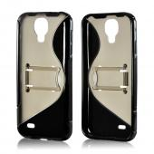 Smoke/ Black S Design Crystal Silicone Case w/ Kickstand for Samsung Galaxy S4