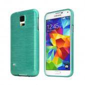 REDShield Green Teal Striped Samsung Galaxy S5 Flexible Crystal Silicone TPU Case - Conforms To Your Phone Without Stretching Out!