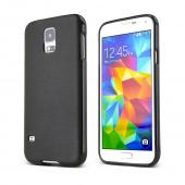 Black Samsung Galaxy S5 Satin Back Finish on Black Super Tough TPU Crystal Silicone Skin Case