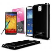 Black Anti-Slip TPU Crystal Silicone Skin Case & Free Screen Protector for Samsung Galaxy Note 3