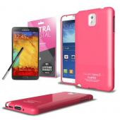 Hot Pink  Anti-Slip TPU Crystal Silicone Skin Case & Free Screen Protector for Samsung Galaxy Note 3