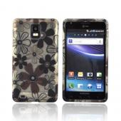 Samsung Infuse 4G i997 Crystal Silicone Case - Brown & Black Daisy Flowers on Frost White