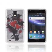 Samsung Infuse 4G i997 Crystal Silicone Case - Red Hearts & Flowers on Frost White