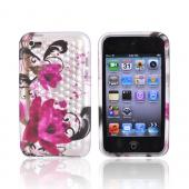 Apple iPod Touch 4 Crystal Silicone Case - Transparent Pink Flowers w/ Diamonds