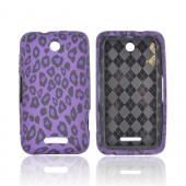 ZTE Score X500 Crystal Silicone Case - Purple/ Black Leopard