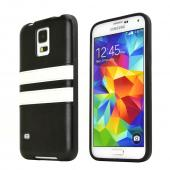 REDShield Black w/ White Stripes Samsung Galaxy S5 Faux Leather Back Flexible Crystal Silicone TPU Case - Conforms To Your Phone Without Stretching Out!