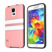 REDShield Baby Pink w/ White Stripes Samsung Galaxy S5 Faux Leather Back Flexible Crystal Silicone TPU Case - Conforms To Your Phone Without Stretching Out!
