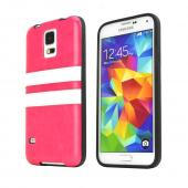 REDShield Hot Pink W/ White Stripes Samsung Galaxy S5 Faux Leather Back Flexible Crystal Silicone TPU Case - Conforms To Your Phone Without Stretching Out!