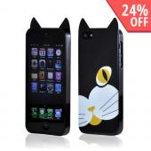 Premium Apple iPhone 5/5S Crystal Silicone Case w/ Pointy Ears - Black Cat