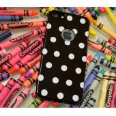 Black/ White Polka Dots Anti-Slip Dot Jelly Series Crystal Silicone Case for Apple iPhone 5/5S