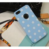 Sky Blue/ White Polka Dots Anti-Slip Dot Jelly Series Crystal Silicone Case for Apple iPhone 5/5S