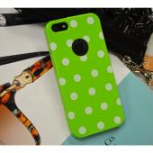 Lime Green/ White Polka Dots Anti-Slip Dot Jelly Series Crystal Silicone Case for Apple iPhone 5/5S - XXIP5