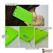 Lime Green Super Premium Anti-Slip Crayon Series Crystal Silicone Case for iPhone 5