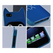 Premium Apple iPhone 5 Crystal Silicone Case w/ Pointy Ears - Blue Owl