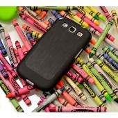 Black Super Premium Anti-Slip Crayon Series Crystal Silicone Case for Samsung Galaxy S3