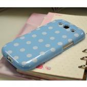 Sky Blue/ White Polka Dots Anti-Slip Dot Jelly Series Crystal Silicone Case for Samsung Galaxy S3