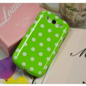 Lime Green/ White Polka Dots Anti-Slip Dot Jelly Series Crystal Silicone Case for Samsung Galaxy S3
