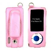Premium Apple iPod Nano 5 Vertical Leather Case w/ Belt Clip - Baby Pink