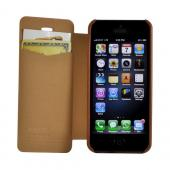Brown Ultra Slim Faux Leather Diary Flip Case for Apple iPhone 5