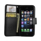 Black Hera Slim Leather Diary Flip Case w/ ID Slots for Apple iPhone 5