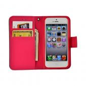 Black/ Pink Leather Diary Premium Crystal Silicone Case w/ ID Slots for Apple iPhone 5
