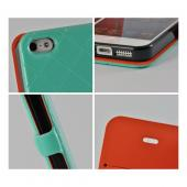 Mint/ Orange/ Black Leather Stitched Diary Premium Crystal Silicone Case w/ ID Slots for Apple iPhone 5