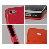 Hot Pink/ Orange/ Black Leather Stitched Diary Premium Crystal Silicone Case w/ ID Slots for Apple iPhone 5